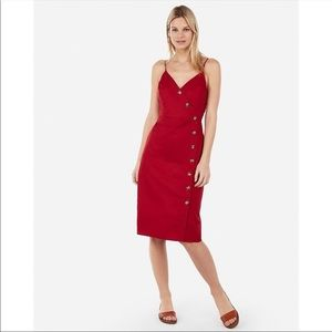 NWT Express Red Casual Buttondown Midi Dress Med